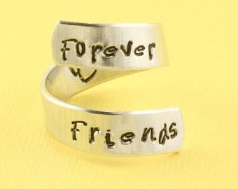 Forever Friends Ring - Friendship Ring - Adjustable Ring - Silver Ring - Heart Ring - Forever Ring - Infinity Ring - Gift for Best Friend