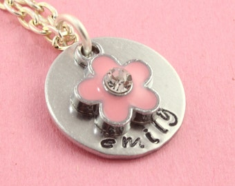 SALE - Flower Girl Necklace Necklace - Pink Flower Silver Necklace - Hand Stamped Personalized Necklace
