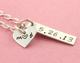 SALE - Personalized Heart Initials and Date Necklace - Silver Necklace for Couples - Handstamped Necklace - Mother's Day - Wedding Gift