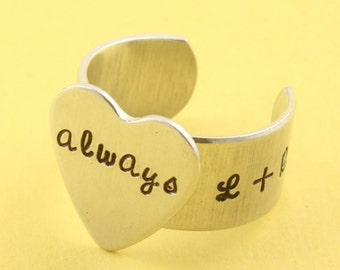 SALE - Personalized Heart Adjustable Ring - Heart Ring - Aluminum Ring - Hand Stamped Ring - Valentine's Day - Mother's Day Gift