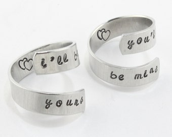 SALE - I'll Be Yours You'll Be Mine Ring Set - Couples Rings - Adjustable Aluminum Rings - Handstamped Rings - Valentine's Day Gift