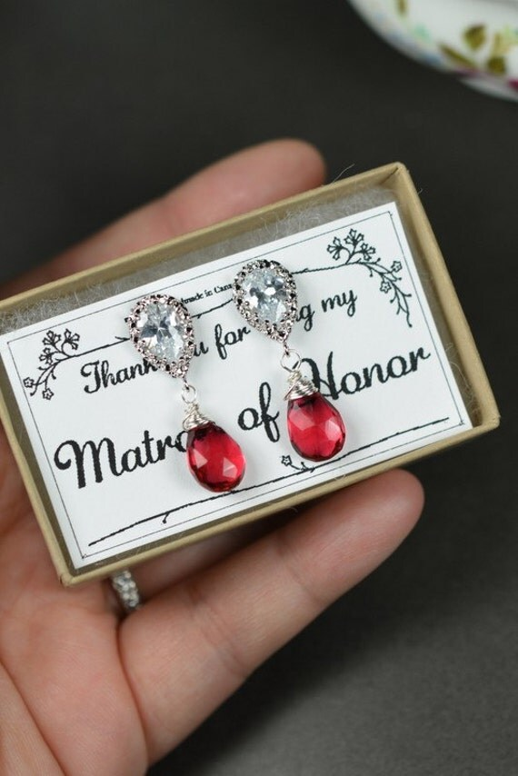 Christmas gifts,studs,red garnet earrings,cranberry red bridal earrings,tear drop dangle,Wedding Bridal Bridesmaid Earrings,bridesmaid gifts