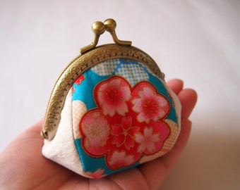 Sakura Festival, Light Blue - Framed Coin Purse/ Change Purse/ Jewelry Pouch/ Kisslock- Handmade in Japan by Chikaberry