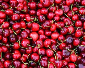 Food Photography - Red Cherries - Farmers Market - San Francisco, CA - 8x10 Fine Art Photograph - Kitchen Wall Art