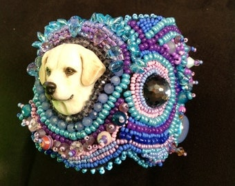 Featuring, Laura Mears cabochon. My beautiful, Zoey, my cream color Labrador..., with seed beadiing