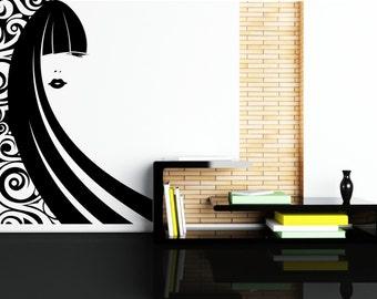 "Modern Woman Silhouette With Long Hair Removable Wall Art Decor Decal Vinyl Sticker Mural "" Shika"""
