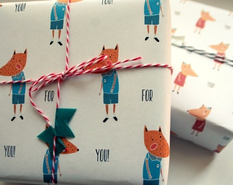 Mister and Misses fox Gift Wrap.