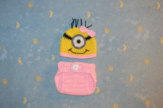 Despicable Me Minion Crochet Outfit Newborn s.Baby Girl Picture Outfit,photo prop newborn,0-3mo,3-6,mo,6-12mo,12-18mo,18-24