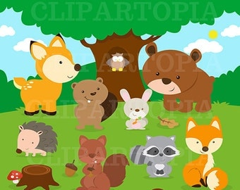 Forest Friends Animal Clip Art / Woodland  Animal Clipart / Forest Animal ClipArt / Cute Animal Clipart / Owl Clipart