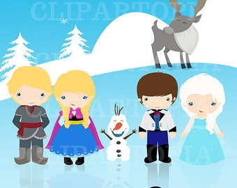 THE SNOW PRINCESS digital clipart , Princes Clip art, Princess clipart for personal and commercial use
