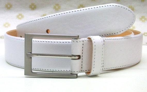 white leather belt white mens belt by weinmannaccessories