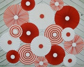 Red and White,  Vintage Circus Inspired Set of Seventeen (17)  Paper Rosettes, Paper Fans Backdrop