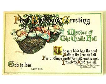 Vintage 1st Birthday Post Card Baby in Basket HTF