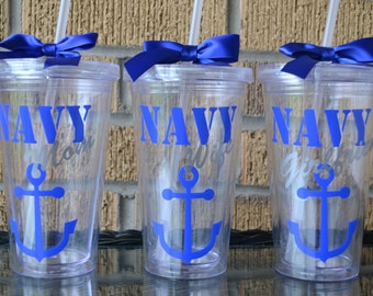 1 - Navy Wife Mom Grandma Girlfriend Tumbler Cup - Personalized