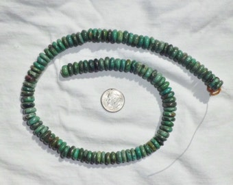 """16"""" Genuine Turquoise Rondelle Rounded Disc Beads Full Strand 8 mm Heishi for Necklace Green"""