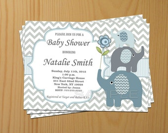 Editable Baby Shower Invitation Elephant Baby Shower Invitation Boy Baby Shower Invitation Invites (49e) - Thank You Card - Instant Download