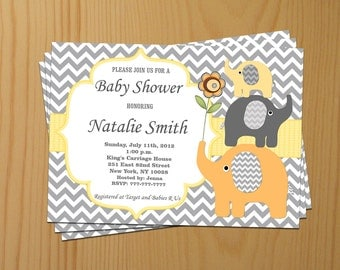 Elephant Baby Shower Invitations Gender Neutral Baby Shower Invitation Baby Shower Invitations (87a) -Free Thank You Card - Instant Download