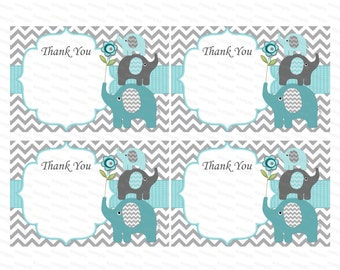 Thank you card boy baby shower thank you notes baby thank you tag insert thank you elephant baby shower (57) - instant download