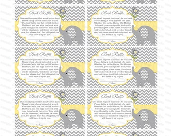 Book raffle Bring a book insert baby shower invitation bring a book instead of a card elephant baby shower invitation baby shower (87tr)