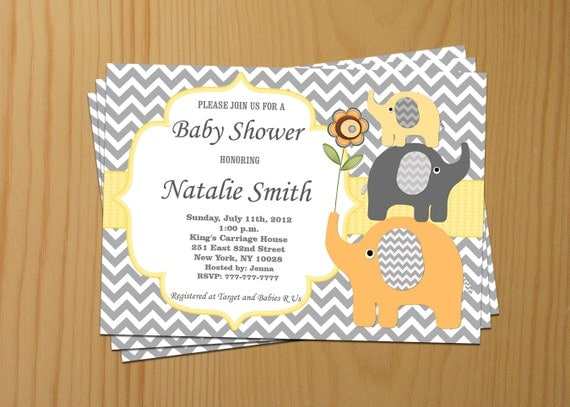baby shower invitation elephant baby shower invitation neutral baby