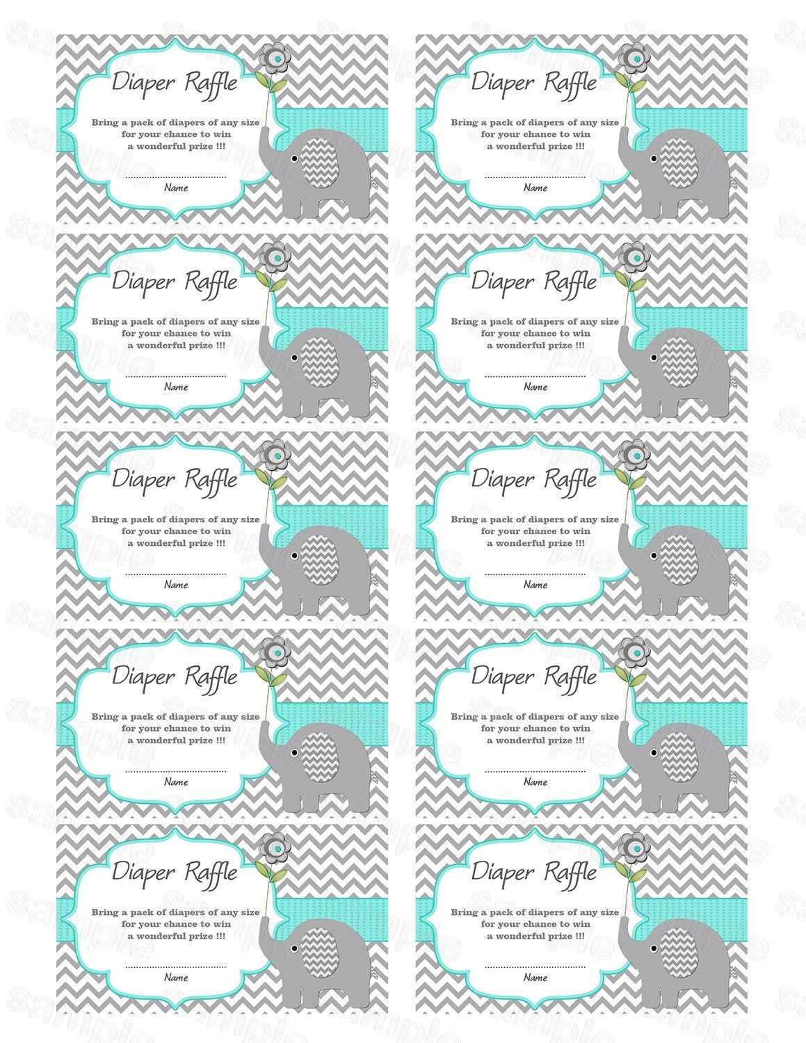 Amazing image with free printable diaper raffle ticket template