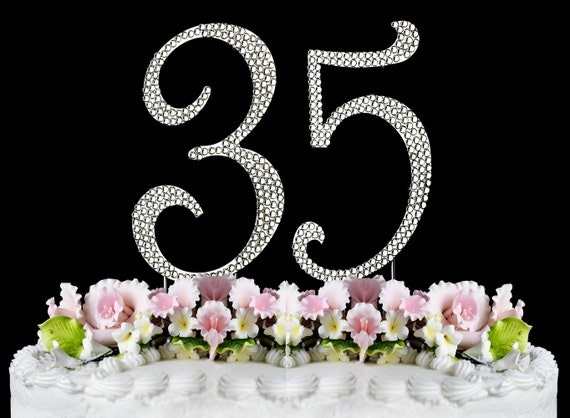 35 Wedding Anniversary Gift Ideas: New Large Rhinestone NUMBER 35 Cake Topper 35th Birthday