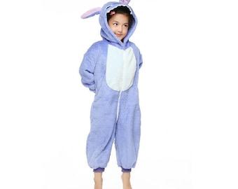 Halloween KIGURUMI Animal Pajamas Pyjamas Costume  Kid SLOTH blue Stitch