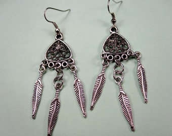 35% discount/Fashion earrings/ filigree /with feathers  silver./cheap/ affordable/discount/low price/bis sale
