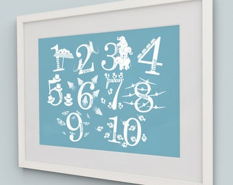 Number Art // Nursery Art // Nursery Decor // Children's Wall Art // Decorative Character Number Print - Variety of colours