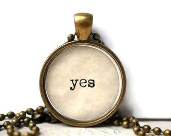 Yes resin necklace or keychain word jewelry
