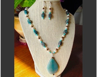 Blue Banded Chocolate Quartz, Turquoise Howlite, Copper Art Glass and Pearl Necklace with Blue Crackle Agate Focal and Earring Set