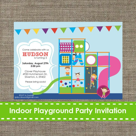 indoor playground invitation inflatable bouncy printable