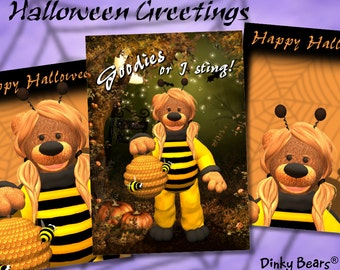 Dinky Bears Bee Halloween Greetings - Digital Download