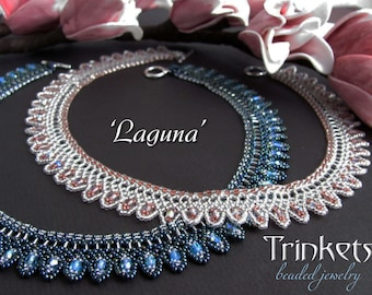 Tutorial for beadwoven necklace 'Laguna' - PDF beading pattern - DIY