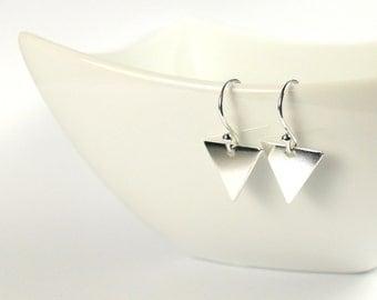 Small Minimalist Triangle Chevron Geometric Modern Dangle Drop Earrings Simple Sterling Silver Jewellery
