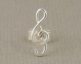 Tiny Cartilage Stud, Treble Clef Music Stud Earring, Sterling Silver Earring 925, Sterling Silver Jewellery, Single Earring