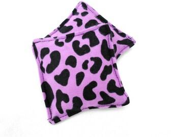 Lilac Leopard Print Flannel Hand Warmers - Purple Lavender Leopard Print Animal Print Reusable Rice Hand Warmers