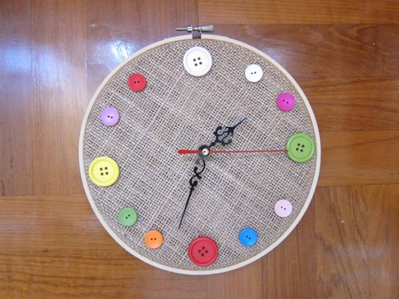 Items similar to diy wall clock color buttons embroidery for Clock mechanisms for craft projects