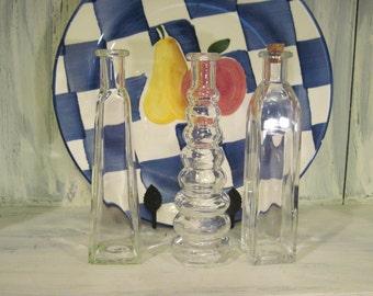 Vintage decorative glass bottle set of 3, retro decorative art deco glass bottle set, clear glass bottle set decorative glass art bottle set