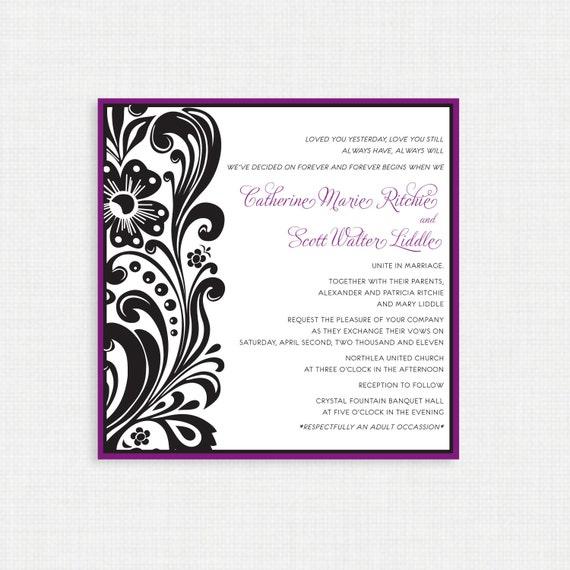 Printable Wedding Invitation - Purple and Black Swirl - Wedding Invitations -Elegant Wedding Invitation - Printable Invitation