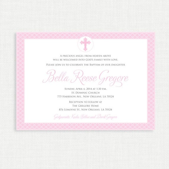Printable Baptism Invitation - Baby Dedication, First Communion, Confirmation, Christening - Printable invitation template