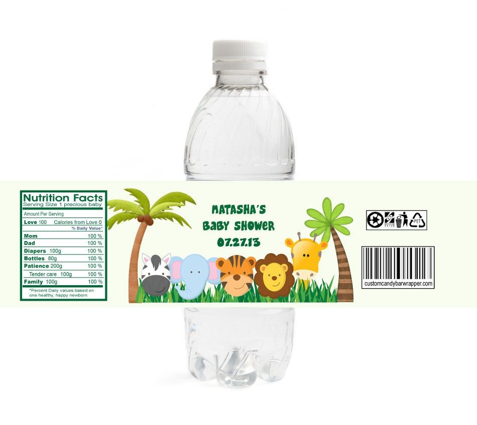 jungle baby shower water bottle labels set of 10 personalized