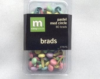 New- For Scrapbooking and Paper Crafting 80 Brads by Making Memories Pastel Medium Circles
