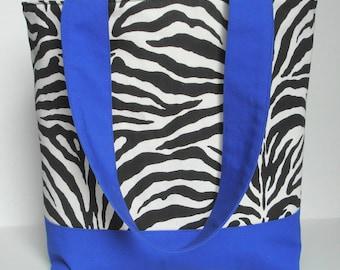 Exotic Zebra Print and Indigo Tote