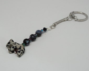 Snake Chain Keychain with Snap End Gemstone Beads Stone Horse Wire Wrapped to Keychain