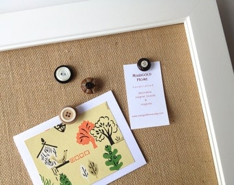 LARGE framed magnetic bulletin board, memo board - tan burlap fabric covered, white frame, rustic wedding, place card display, office decor