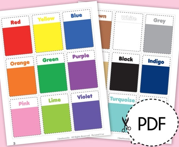 Color and Shape Flash Cards-Printable PDF by JooSweetieToo on Etsy
