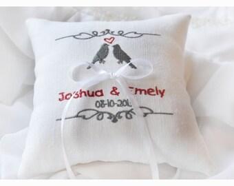 Wedding lovebirds pillow,  Ring Bearer Pillow , Linen wedding ring pillow with birds, ring bearer pillow, embroidery wedding pillow (R27)