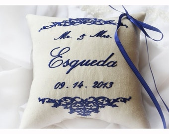 Wedding pillow , wedding ring pillow , ring bearer pillow,  Embroidery Ring Bearer Pillow Ivory Linen (R11)