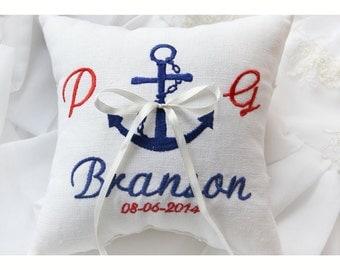 ANCHOR PILLOW, Ring bearer pillow , wedding pillow , wedding ring pillow, Personalized  ring bearer pillow , embroidered pillow (BRP6))
